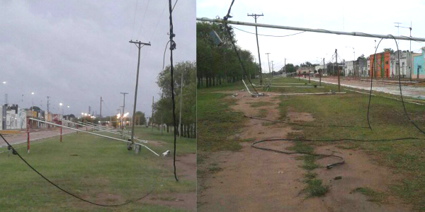 Destrozos de la tormenta en General Pinedo